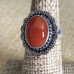Red Carnelian Stone Ring Size 6 3/4